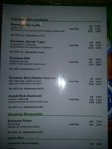 Keesmann Brau menu
